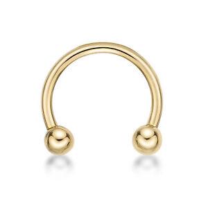 16 Gauge 14K Yellow Gold Circular Barbells Horseshoe Eyebrow Ring, 3/8