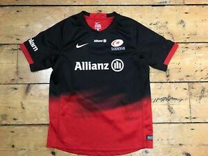 age 12 SARACENS RFC Rugby Home Shirt Jersey Trikot Camiseta Maglia Maillot