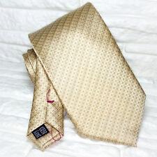Cravatta Jacquard cuciture rosse beige 100% seta Nuova Made in Italy marca TRE