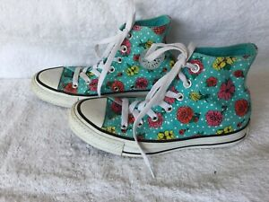 CONVERSE ALL STAR FLORAL LACE UP HI TOPS  SIZE: 5W US NEAR NEW