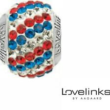 Genuine Lovelinks sterling silver 925 red white blue cz pave bracelet charm bead