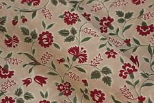 Printed cotton French 1930-1940's printed cotton red green material old