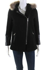 Sandro Womens Solid Fur Lined Hood Zip Up Coat Black Size S