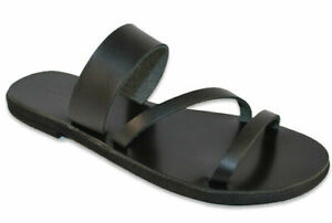 Greek Handmade Women Sandals Ancient Style Genuine Leather Slide Shoes Flat Size