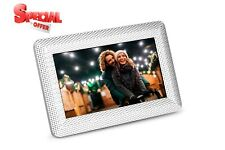 Polaroid - 7in Digital Photo Frame with Decorative Textured Silver Metal Frame