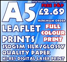 QUALITY GLOSS PAPER LEAFLET / FLYER PRINTING / ADVERTISING 150GSM GLOSS A5