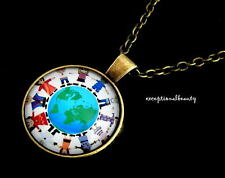Glass Cabochon Pendant Gold Necklace Children World Unity Holding Hands Domed