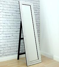 "Alma Crystal Glass Frame Silver Cheval Dress Freestanding Floor Mirror 16""x 60"""