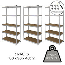 3 Garage Shelves Shelving 5 Tier Racking Boltless  Storage FREE Bay Connectors