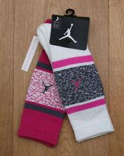 Air Jordan Girl 2 Pr High Crew Socks~Fuchsia, Gray & White~ 5Y-7Y ~ Sock Sz 9-11
