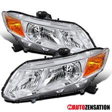 Fits 2012-2015 Honda Civic Coupe Sedan Clear Lens Headlights Lamps+Amber Pair