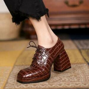 Womens Fashion Embossed Leather Square Toe Platform Block Heel Lace Up Shoes SKG