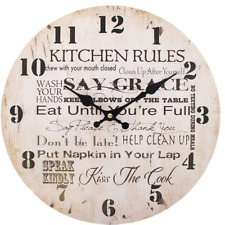 Hanging Wall Clock Shabby Kitchen Rules Wooden Chic Vintage Analogue 34cm