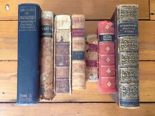 Lot 7 1800s 1700s Distressed Antique Antiquarian Leather Bound Decorative Books