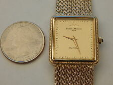 BAUME MERCIER FULL SOLID 14K GOLD BAND BRACELET 25MM DRESS WATCH 54.7 GRAMS
