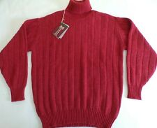 "William Lockie roll neck chunky knit 4 ply cashmere sweater jumper top 48"" Poppy"