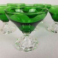 Anchor Hocking BURPLE Sherbert Juice Wine 4 oz Glasses Emerald Green Set of 6