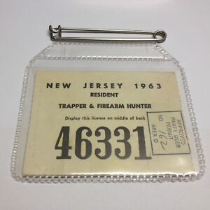 Vintage 1963 Approved Party Area D  Hunting License + Holder NJ Hunting License