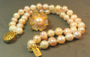 Multi-Colored Freshwater Pearl Bracelet and Ring Set, Gold-Plated, Ring Size 8