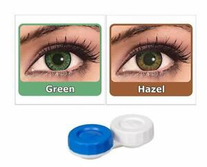 Soft Eye Green & Hazel Color Lens with Case and Solution 2 Pair