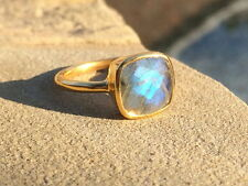 Labadorite Cushion Cut Ring Stackable Vermeil Gold Labradorite Ring Size 7