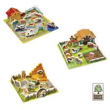Steck Puzzle Echtholz Spielzeug Holz Farm Stadt Zoo Spiel Holzspielzeug Kinder