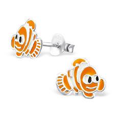 925 Sterling Silver Cute Nemo Clown Fish Ear studs Earrings Solid Boxed (W23)