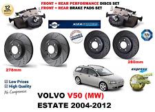 für Volvo V50 2004-2012 Vordere Hintere Performance GELOCHTE BREMSSCHEIBEN SATZ
