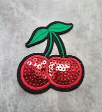 CHERRIES CHERRY 8x7CM FRUIT LUSH SWEET CRAFT DANCE SEQUIN IRON ON PATCH BADGE