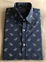 Zara Size Large Super Slim Fit Navy Blue & White Snake Print Button Cuff Shirt
