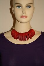 Handmade Wooden Tribal Statement Adjustable Wood Choker/Necklace Deep Red