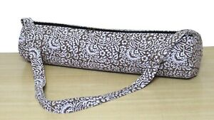 Brown White Round Floral Hand Block Printed Gym Exercise Yoga Mat Carrier Bags