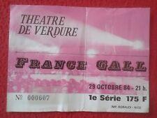 ENTRADA TICKET CONCIERTO DE FRANCE GALL THEATRE DE VERDURE TEATRO 1984 NICE NIZA