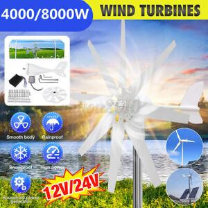 8000W /4000W 8 Blades Wind Turbine DC 12/24V Wind Generator W/Charge Controller