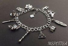 Harry Potter Charm Bracelet Deathly Hallows Werewolf Wizards Owls Wands Books