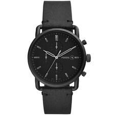 Mens Wristwatch FOSSIL COMMUTER FS5504 Chrono Genuine Leather Black NEW