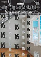 GLITZ BLACK 6 HANGING DECORATIONS 16TH BIRTHDAY 1.5M/5' BIRTHDAY PARTY SUPPLIES