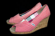 TOMS Emma Cork Wedge Heel Peep Toe Espadrilles Wo's 9.5 Red & White Striped