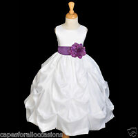 WHITE TAFFETA FLOWER GIRL DRESS WEDDING COMMUNION 6m-24m 2 3T 4 5T 6 6X 7 8 9 10