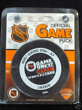 Game One Japan 1997 Official NHL Hockey Puck Vancouver Canucks Vs Mighty Ducks
