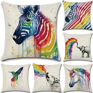 Colorful Cotton Linen Animal Print Home Sofa Decor Cushion Cover Pillow Case HC