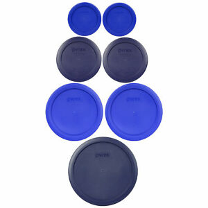 Pyrex 7202-PC 7200-PC 7201-PC 7402-PC Cobalt and Dark Blue 7 Piece Plastic Lids