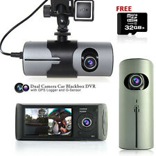 "2.7"" LCD HD Dual Camera Car DVR Black Box w/ GPS Tracker + Gravity Sensor + 32GB"