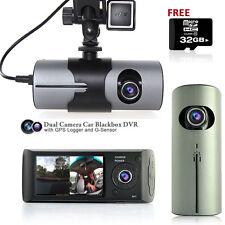 "2.7"" LCD HD Dual Camera Car DVR Black Box w/ GPS Tracker + Gravity Sensor + 32GB"