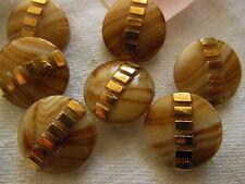 lot 6 boutons anciens en verre créme sable marron diamètre 1,7 cm  ref 1808