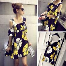 Fashion Floral Print Dress Women Summer Square Collar Ruffle Loose Dresses Party