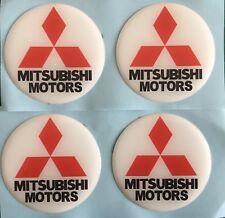 MITSUBISHI ALLOY WHEEL CENTRE CAP DOMED STICKERS WHITE RED EVO LANCER X4 55mm
