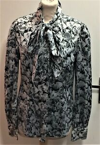 Hawes & Curtis Grey Print Satin Pussy Bow LS LULU Blouse size UK 12