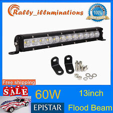 60W 13''inch FLOOD LED Light Bar Off Road 4x4 4WD 12V 24V Reverse Work Lamp Slim
