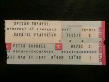 Peter Gabriel Ticket Stub 3/11/1977 Chicago Uptown Very Rare! Make An Offer!